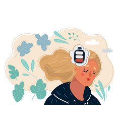 Tired woman low battery mind tired woman vector