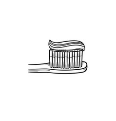 toothpaste on a toothbrush hand drawn outline vector image