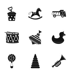 toys icon set simple style vector image