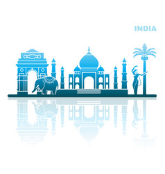 traditional sights and symbols india vector image