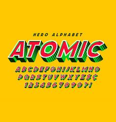 Trendy 3d comical font design colorful alphabet vector