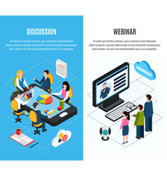 two webinar isometric banner set vector image