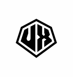 Ux monogram logo with hexagon shape and line vector