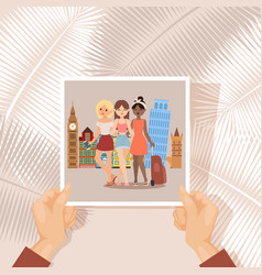 vacation girl friends photo traveler vector image