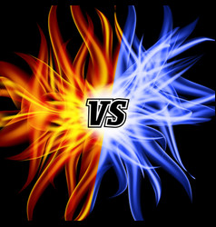 Versus vs letters flame fight background vector