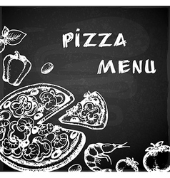 Vintage hand drawn pizza menu vector