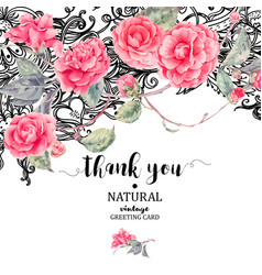 Vintage natural lace and camellia flowers vector