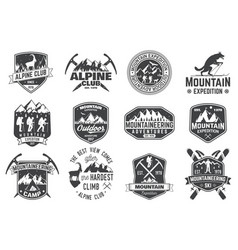 vintage typography design with mountaineers and vector image
