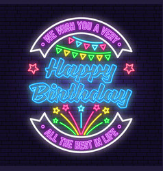 We wish you a very happy birthday neon sign all vector