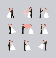 Wedding card bride and groom holding hands in vector
