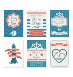 wedding invitation cards in nautical style vector image