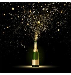 Champagne gold confetti splashes vector