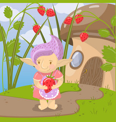 cute troll girl character with strawberry standing vector image