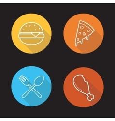 Food flat linear icons set vector image