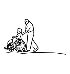 old man helping his wife on wheelchair vector image