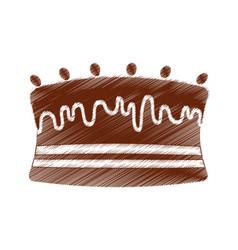 Drawing cake chocolate sweet vector