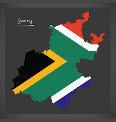 gauteng south africa map with national flag vector image