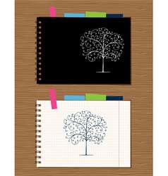 Notebook cover and page design on wooden backgroun vector image vector image