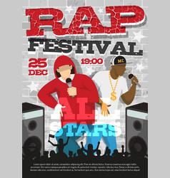 rap music festival announcement poster vector image vector image