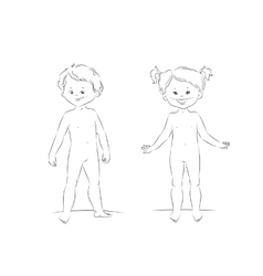 Standing boy and girl front view vector image