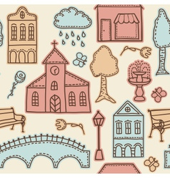 Town or city design elements on seamless pattern vector image vector image