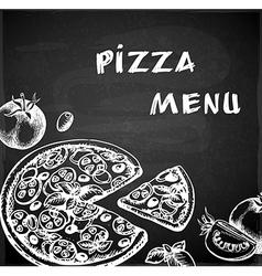 Vintage hand drawn pizza menu vector image