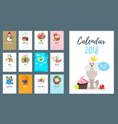 2018 dog year monthly calendar vector image