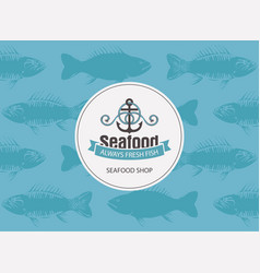 banner for seafood with anchor rope and seamless vector image vector image