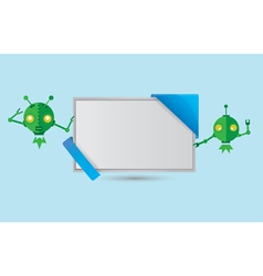 Banner with green robots vector image