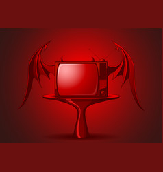 red evil retro tv vector image vector image