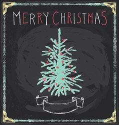 Vintage Merry Christmas Tree Chalkboard Hand Drawn vector image vector image