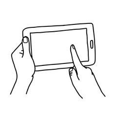 hand using tablet with finger touching screen - vector image