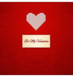 Knitted heart on seamless background vector image