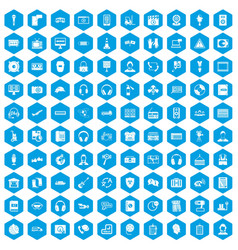 100 headphones icons set blue vector