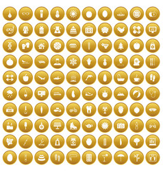 100 women health icons set gold vector