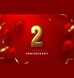 2 years anniversary celebration banner vector