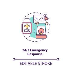247 emergency response concept icon vector