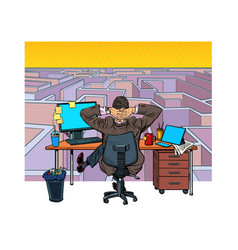 a businessman reflects on a difficult task maze vector image