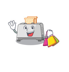 A friendly rich bread toaster waving and holding vector