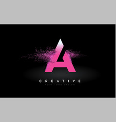 A letter logo with dispersion effect and purple vector