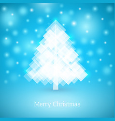 abstract christmas tree made white squares vector image