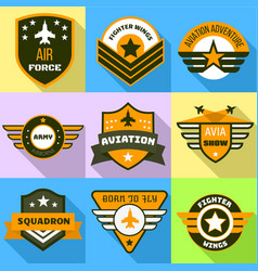 Air force logo set flat style vector