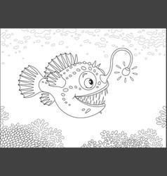 Anglerfish hunting deep in a sea vector