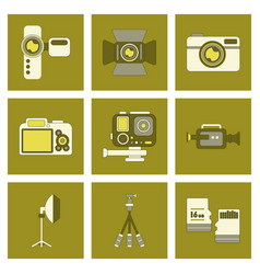 Assembly flat icon technology camcorder photo vector