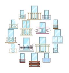 balcony window forms icons set cartoon style vector image