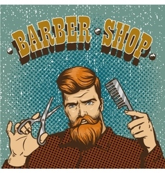 Barber shop poster Hipster vector