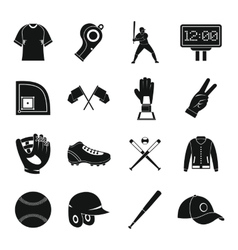 Baseball icons set simple style vector