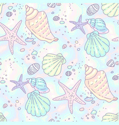 Beach pattern seashells vector