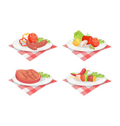 Beefsteak and sausage on plate vector