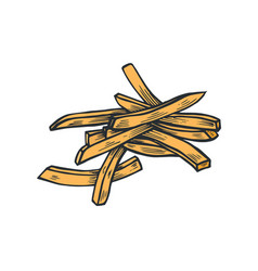black and white cartoon french fries vector image